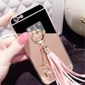 Горячая! Роскошный горный хрусталь сияющий зеркало телефонный задняя крышка с кулон телефон чехол для iphone 5 5S 5E 6 6 s 6 плюс кисточкой чехол C1493