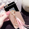 Hot! Luxury Rhinestone Shining Mirror phone Back Cover with Pendant Phone Cases For iphone 5 5S 5E 6 6s 6 plus Tassel case C1493