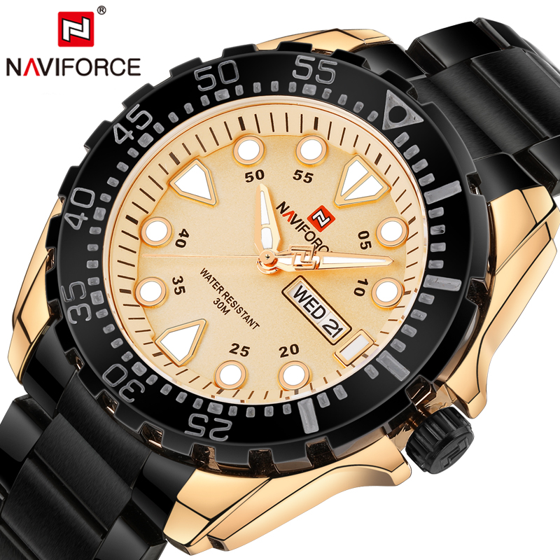 все цены на Mens Watches Top Brand Luxury NAVIFORCE Men Full Steel Quartz Watch Analog Waterproof Sports Watches Army Military Wrist watch