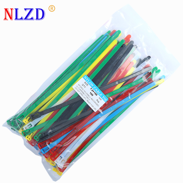 100pcs Releasable Plastic Nylon Cable ties 6\