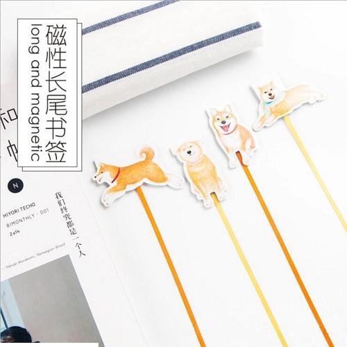 1PC/lot Kawaii Dog Design Long Tail Bookmarks Magnetic Novelty Bookmark  (tt-2705)