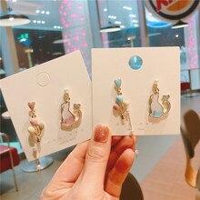 Korea Handmade Anti-allergy Cat Heart Asymmetry Women Drop Earrings Dangle Earrings Fashion Jewelry Accessories-QQD5 цена