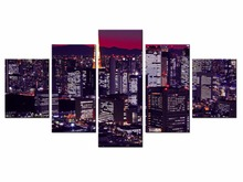 Wholesale Hot Sales Framed 5 Panels Picture City night scene HD Canvas Print Painting Artwork Wall Art painting /City-144