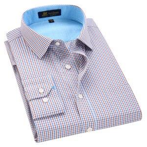 Image 4 - Klassieke Stijl Plaid Shirt Voor Mannelijke Zijde En Katoen Lange Mouwen Slim Fit Strijkvrij Causale Mannen shirts