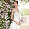 Cheap Beach Wedding Dresses 2017 LORIE Vestido De Noiva Praia Backless V Neck Casamento Chiffon Lace Bridal Gowns Fast Shipping