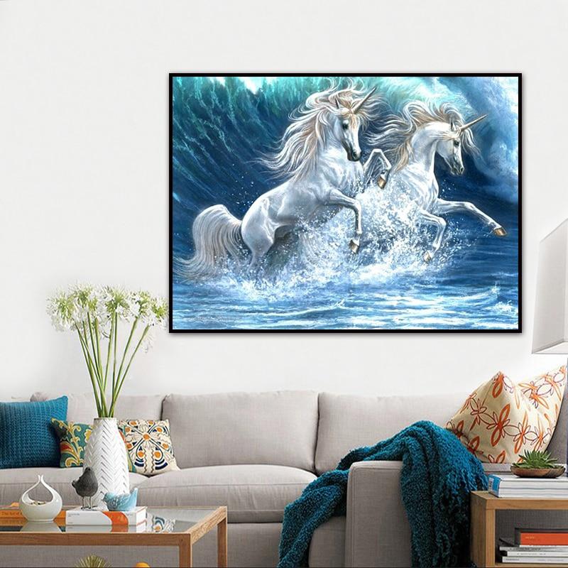 5d Diy Horse Running Weave Diamond Embroidery Painting Animal Full Diamond Painting Decor Picture Round Diamond Painting Craft