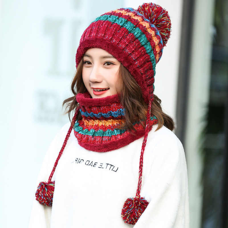 f4084a3382c Winter Women Knitted Hat Scarf Set Fashion Wool Thickening Hat Female Warm  Hat Scarf Set Casual Snow Caps