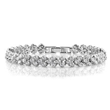 Rome Design 3 Rows Top Quality Clear AAA Cubic Zirconia Paved Charm Tennis Bracelet for Women Bridal Jewelry White Gold Plated