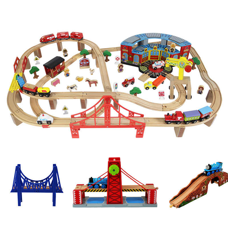 Wooden Train Track Accessories DIY Railway Bridge  Expansion Track Educational Toys For Kid Birthday Gift Christmas gifts