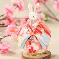 New Arrived 2017 Creative Gift Present Princess Love Girl Music Box Rotating Rabbit Doll Musical Box Wedding Design Party