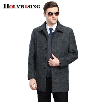 Holyrising Men Wool Coats Turn Collar Thick Mens Winter Jackets Loose Overcoat Classic Soft Coats For Male Peacoat Hot 18567-5