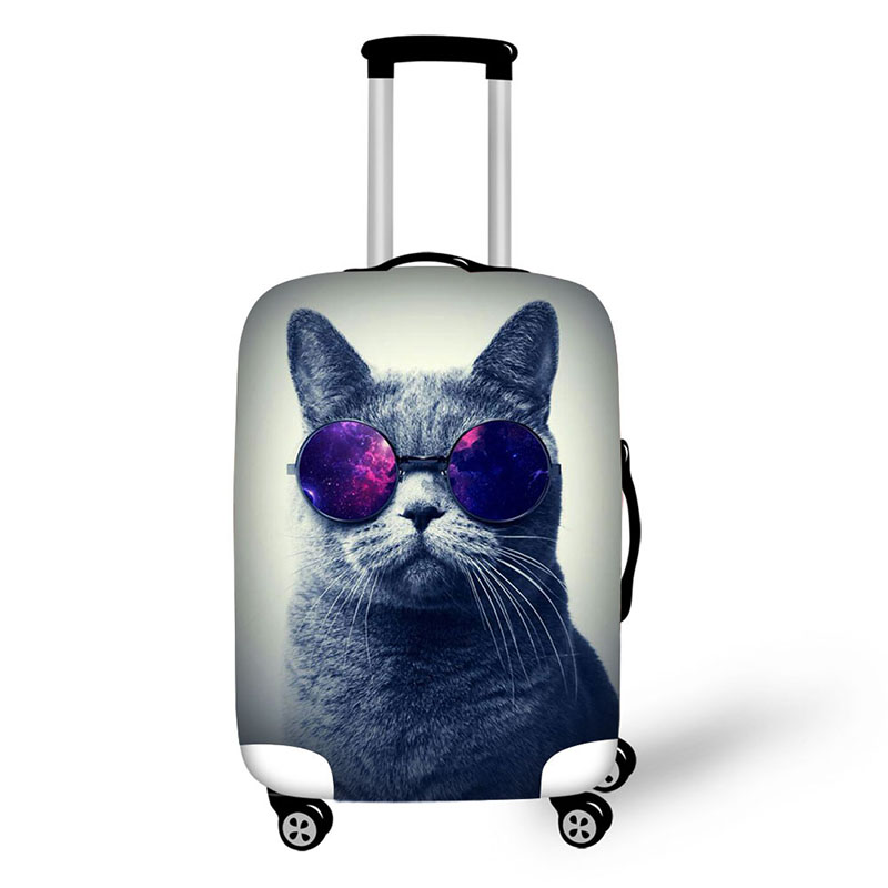 Queen Style Cat Prints Cover For Suitcase Dustproof Solid Color Travel Luggage Cover Suitable For 18-30inch Suitcase