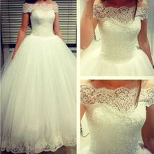 ADW-253 Off-shoulder Tulle Ball Gown Wedding Dresses 2015 With Lace Appliques Edge Floor-length Bridal Gowns Free Shipping 2019 hot sale off shoulder lace tulle flower girl dresses with sleeves floor length white holy first communion dresses ball gown