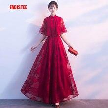 Fadistee 2018 가을 새로운 도착 우아한 파티 드레스 이브닝 드레스 prom frock vestido de festa 럭셔리 하이 넥 레이스 스타일