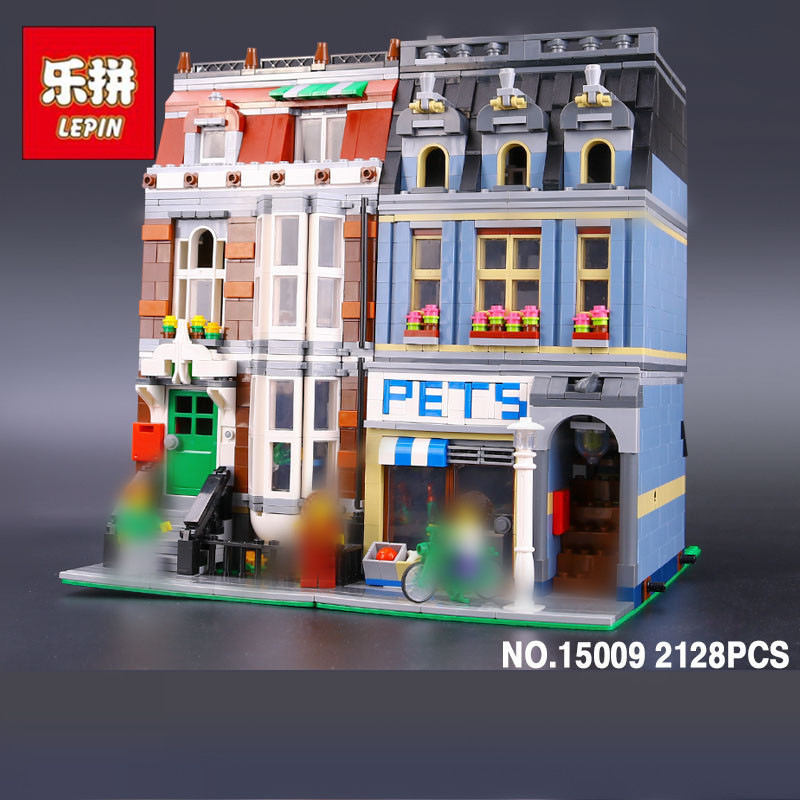 LEPIN 15009 2082Pcs Street View series Pet shop Model Building Blocks Set Bricks Toys For Children Gift 10218 Educational toys lepin 15015 5003pcs street view series dinosaur museum model building blocks set bricks toys for children wange gift