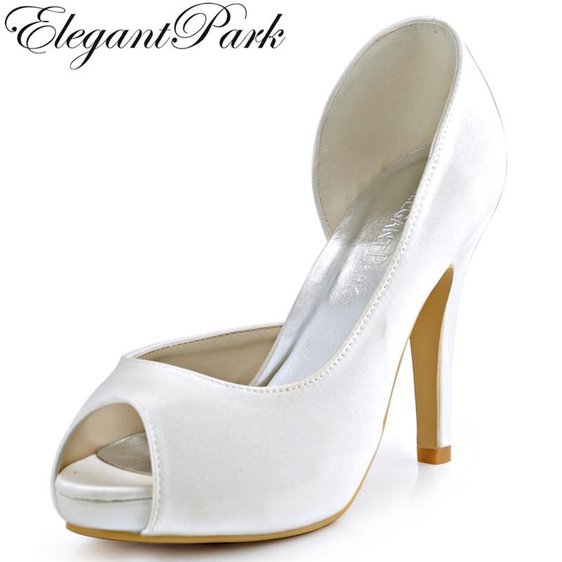 ElegantPark HP1560I Women Ivory Pumps Peep Toe High Heel Platform Satin Wedding Bridal Shoes