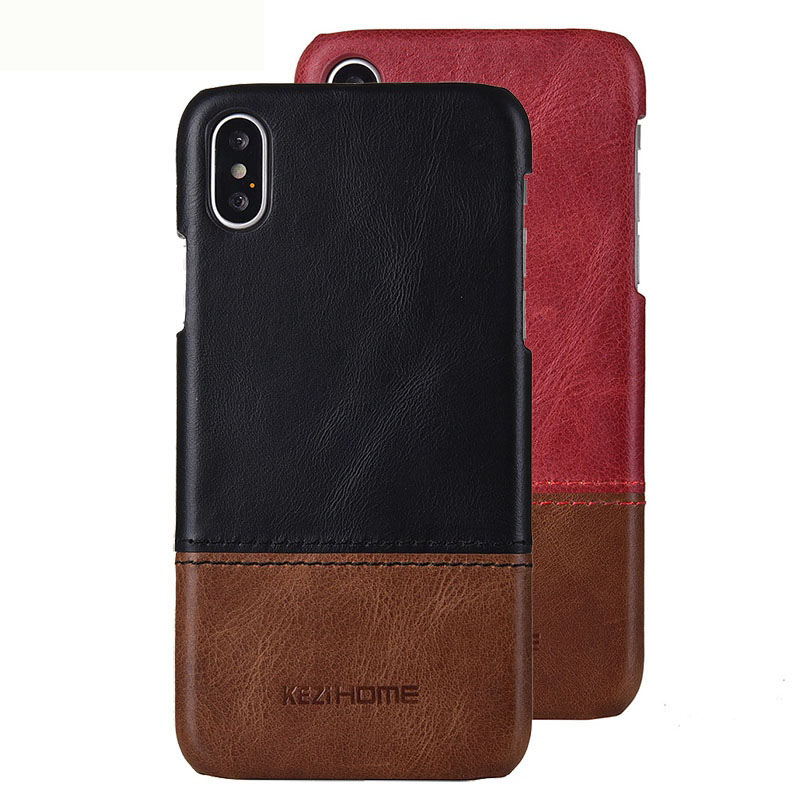 Business Style Genuine Real Leather Back Cover Case for iPhone X XR XS Max Case Shockproof