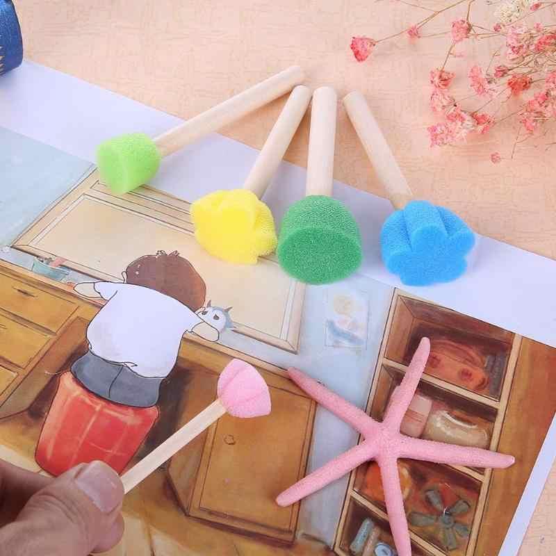 5 шт./компл. DIY деревянная губка граффити живопись кисти для детей ручной рисунок игрушки студенческий канцелярский школьный офисный принадлежности