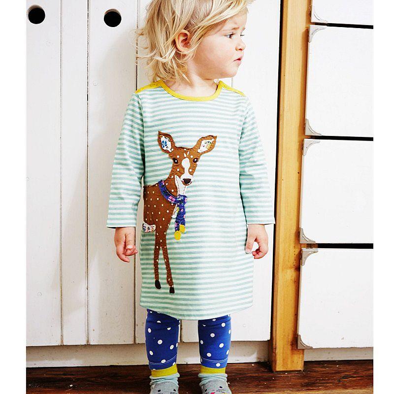 Sun Moon Kids Girl Dresses Casual Deer Appliques Green White Striped Dress Girl Cotton Long Sleeve Summer Dress Girl toddlers girls dots deer pleated cotton dress long sleeve dresses