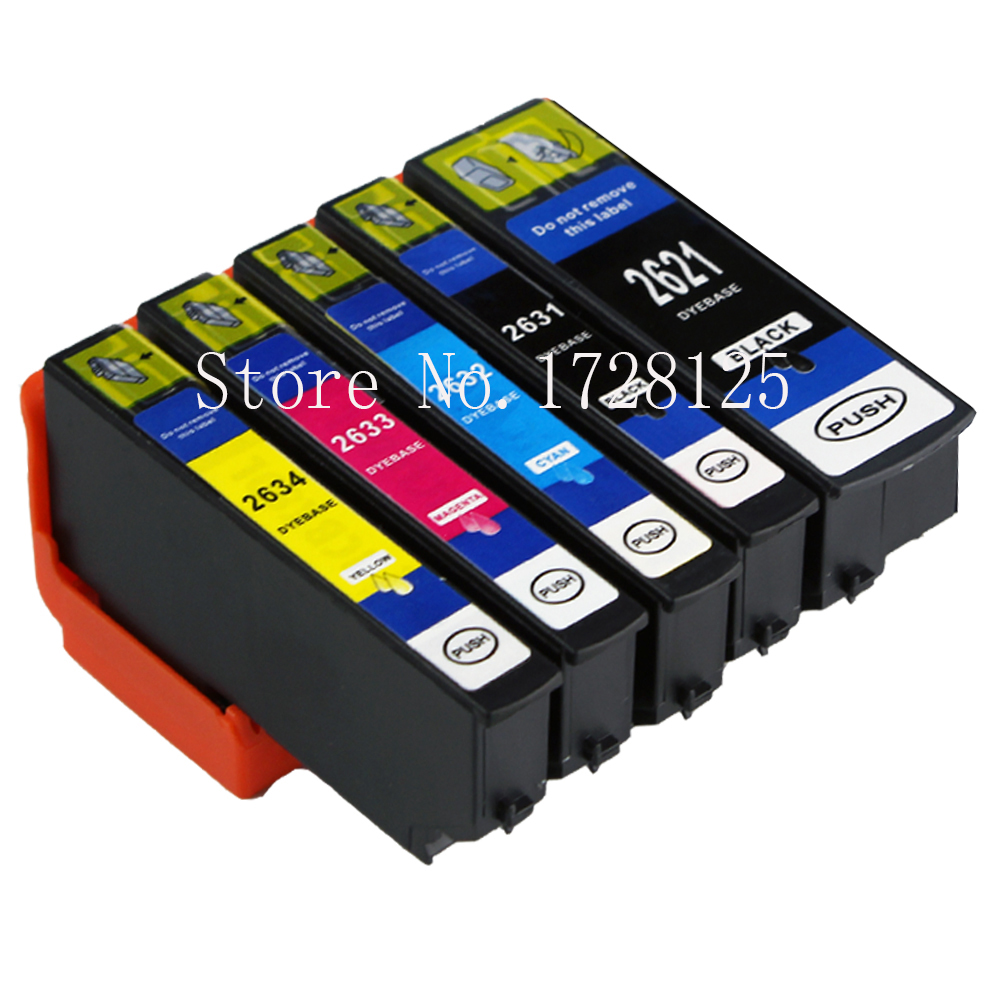 5x Compatible T2621 T2631-2634 Ink Cartridges 26XL <font><b>Epson</b></font> Premium <font><b>XP</b></font>-510 <font><b>XP</b></font>-<font><b>610</b></font> <font><b>XP</b></font>-615 <font><b>XP</b></font>-710 <font><b>XP</b></font>-720 XP810 <font><b>XP</b></font>-820 inkjet Printer image