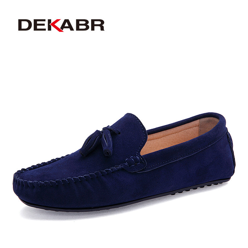 DEKABR Men Genuine Leather Flats Men Casual Loafers Slip On Unisex Shoes Soft Moccasins Comfy Quality Driving Shoes Size 35-44 купить