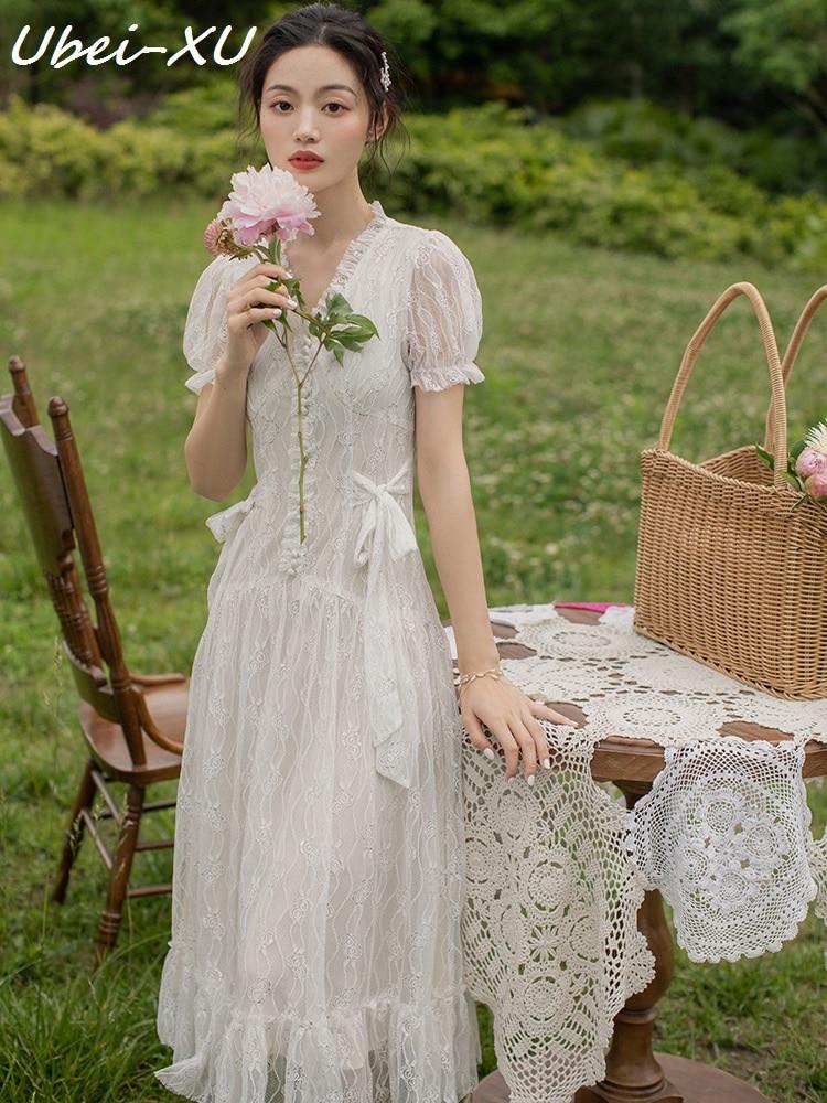 Ubei Sommer weiß spitze lange kleid Französisch Victoria kleine taille abnehmen kleid süße super fee temperament fee kleid-in Kleider aus Damenbekleidung bei  Gruppe 1