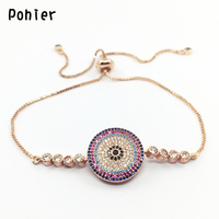 Rose Gold Color Round Evil Eye Hamsa Fatima Hand Charms For Women Adjustable Colorful Mico Pave