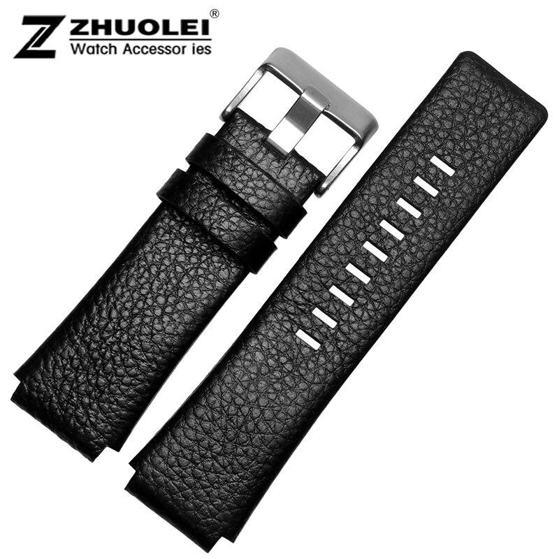 30 mm 28 mm noir neuf de haute qualité Mens de la bande de montre bracelet pour DZ1089 DZ1123 DZ1132 substitut convexe profonde sangle