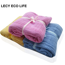 Lecy Eco Life 100%cotton Crochet Newborn Baby Blankets, Handmade Yarn Knitted Blanket for Adult Kids, knitted baby wrap swaddle