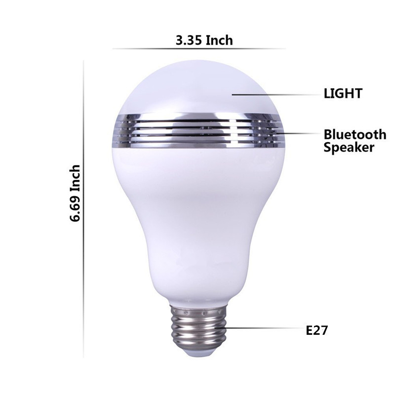 Factory Supply Wireless Buletooth Music Player LED Light Bulb Dimmable Audio Speaker Via Smartphone Wifi Bluetooth App Control