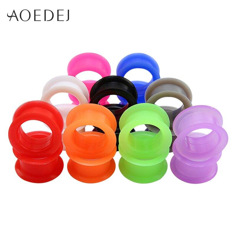 AOEDEJ 3-25 мм 9 цветов/партия, затычки для ушей, силиконовые затычки для тоннелей в ушах на теле, набор вилок для ушек и туннелей