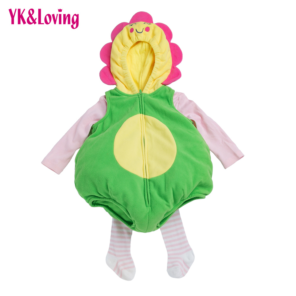 Baby 3 Pieces Winter Clothing Sets For Toddler Thick  Cartoon Animal Unflower Girl/Boys For June 1 Children 's Day Party Costume