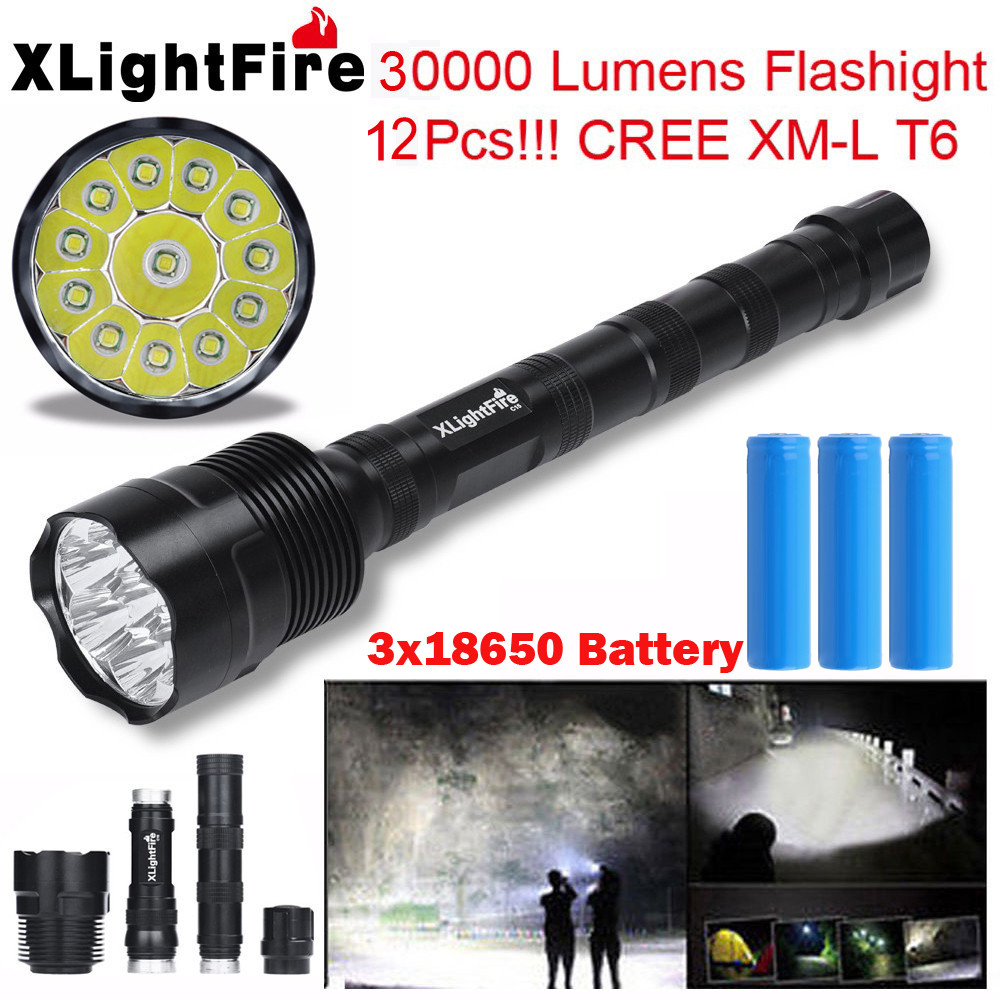 XLightFire 30000 Lumens 12x XML T6 5 Mode LED Flashlight 3X 18650 Battery LED Torch Flashlight Latarka Handheld Linterna Lantern фонарик hedeli 2000lm xml t6 flashlgiht ficklampa latarka hs506b