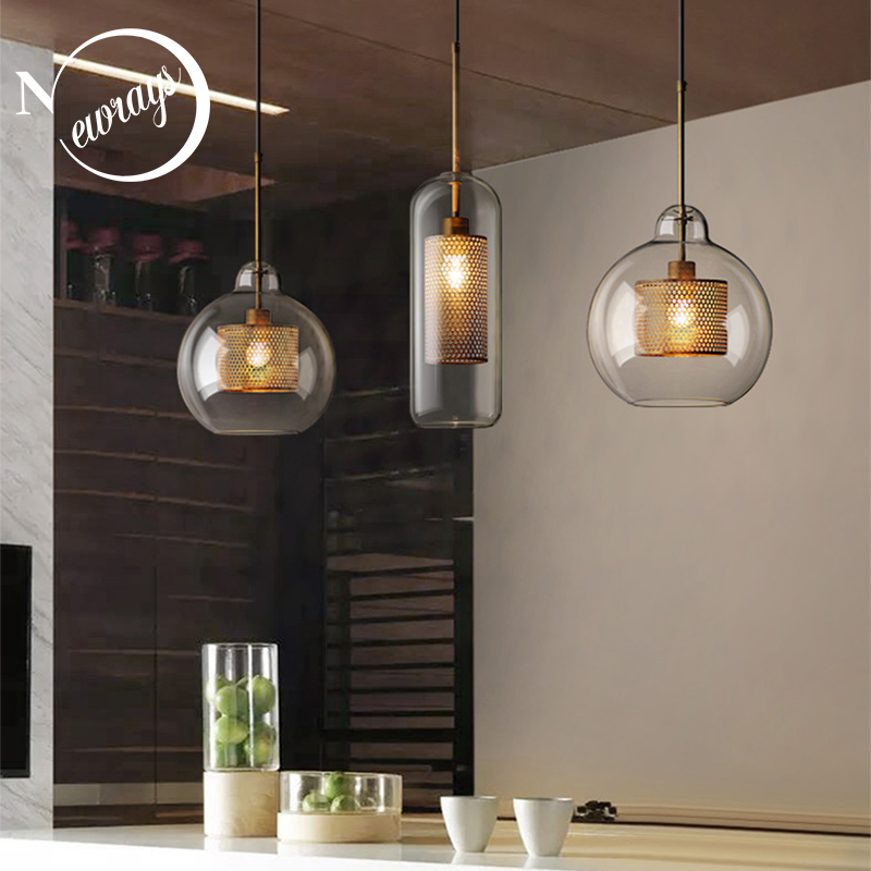 Nordic modern simple glass ball single head E27 LED pendant lights personality decorative lighting for living