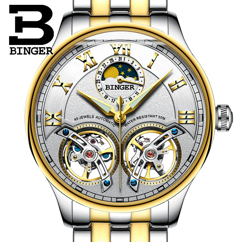 Здесь продается   Switzerland Mechanical Men Watches Binger Role Luxury Brand Skeleton Wrist Sapphire Waterproof Watch Men Clock Male Men Watch  Часы
