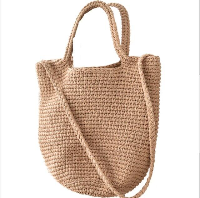 Fashion Women Solid Woven Bag Summer Vacation Beach Female Travel Handbag Shoulder