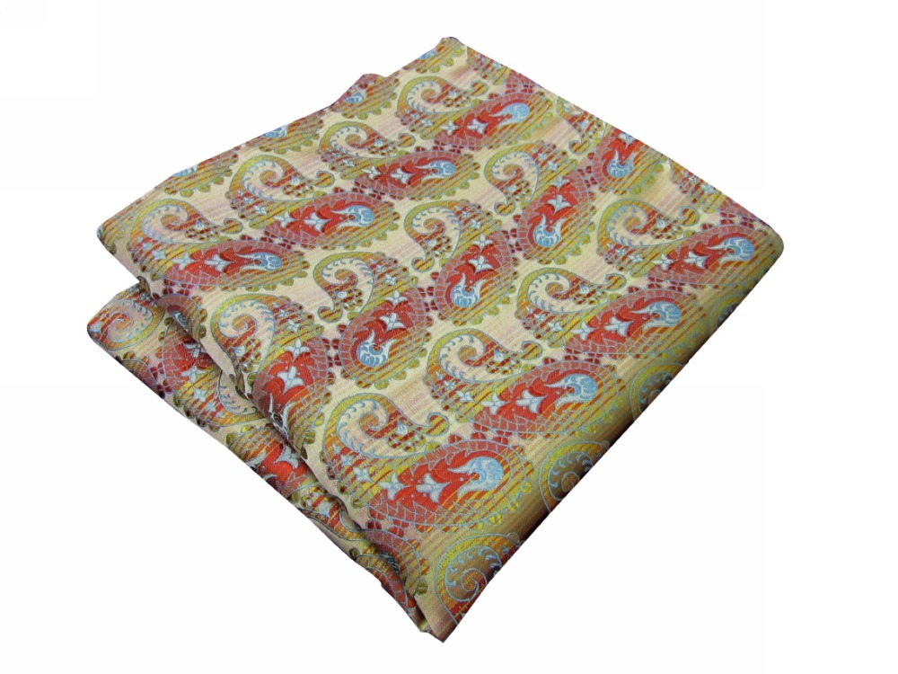 Paisley Yellow Red Blue Handkerchiefs Silk Hanky Pocket