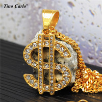Tino Carlo New Arrive Men S Iced Out Dollar Necklace Gold Plated Steel Women S Rich