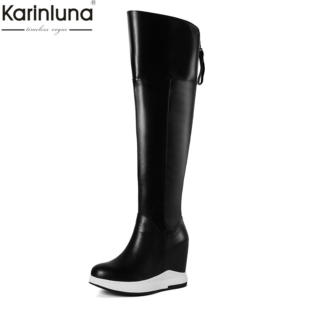 KarinLuna Brand new Large Size 32-40 Cow Leather Hot Sale Zip Up Knee High Boots Woman Shoes Warm Plush Winter Boots Female karinluna 2018 large size 33 43 hot sale platform add fur warm winter boots woman shoes woman zip up ankle boots female