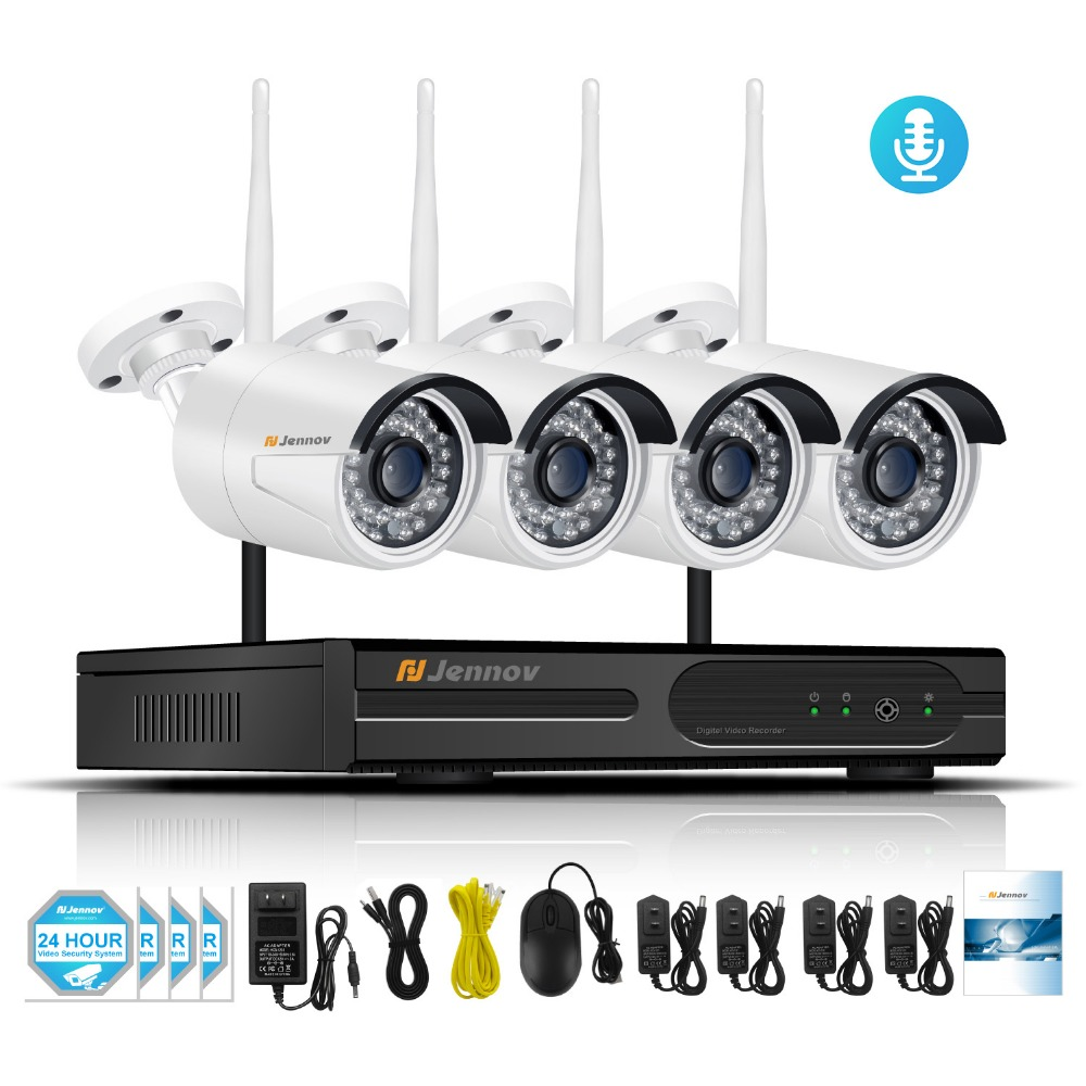 цена на HD 4CH 1080P 2MP Wireless Security CCTV IP Camera System With NVR Wifi Video Audio Record Home Outdoor Surveillance Kits Set