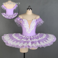 All For Dance 2019 New Violet Spandex Bodice With White Trim Hand Cuff Ballerina Pre professional Pancake Tutu Dance Dress