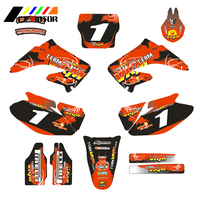 Motorcycle Customized Number Graphics Decals Stickers For HONDA CR125 CR250 CR 125 250 2002 2003 2004 2005 2006 2007 Motobike