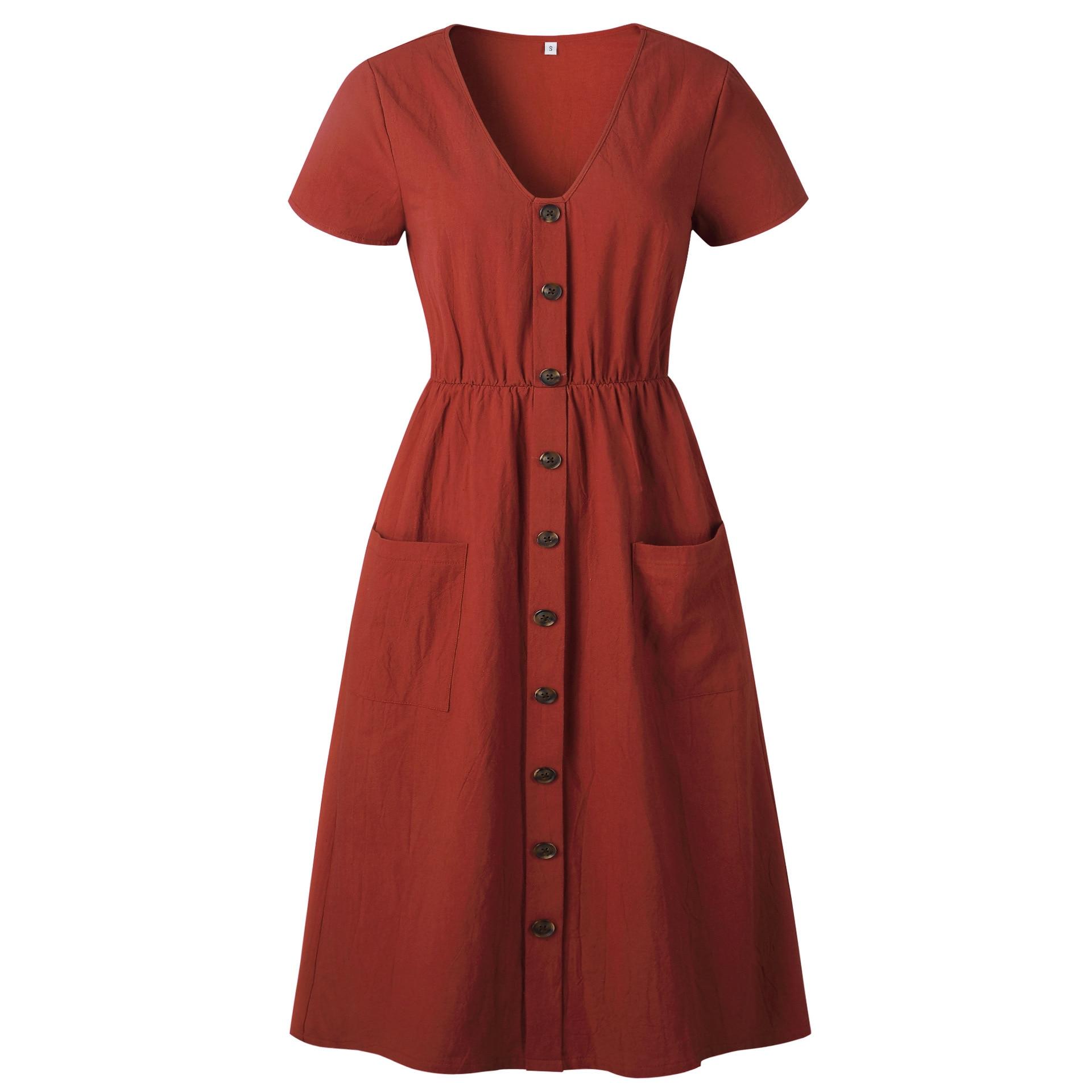 Red Blue A Line Casual Dresses Women Autumn Dress 19 Vintage Long Sleeve Dress For Ladies Buttons V Neck Midi Vestidos Female 106