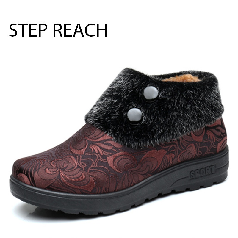 STEPREACH Brand shoes woman winter Boots snow ankle slip-on round toe solid rubber short plush ankle boots for women zapatos muj rosenberg 6464