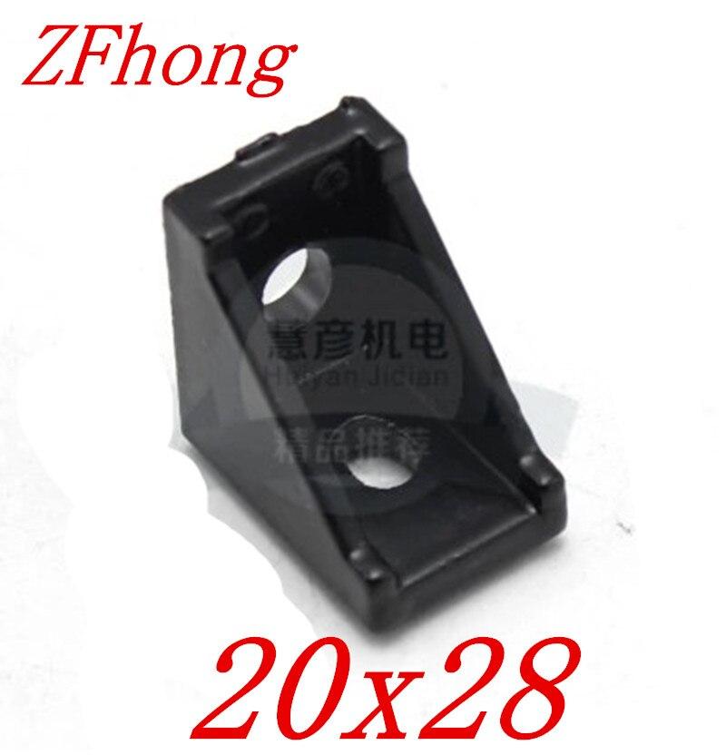 10pcs 2028 2020 Black Corner Angle L Brackets Connector Fasten Fitting Long Hole for Aluminum Profile 2020 20x20 10pcs 4040 corner angle l brackets connector fasten fitting long hole for 4040 aluminum profile