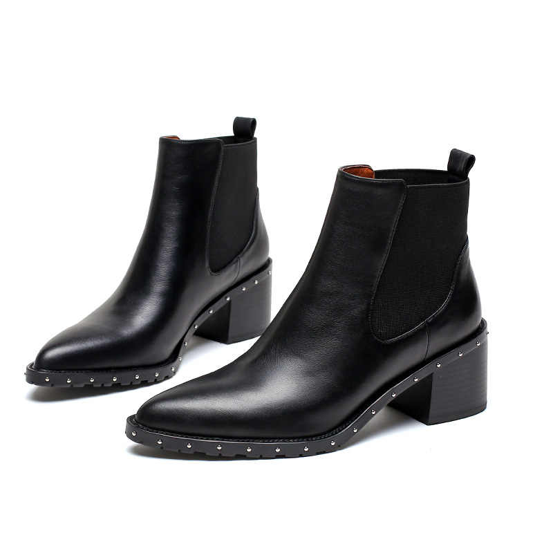 5052bf9cfebe Новейшие ботинки «Челси» с заклепками, женские ботильоны, весенне-зимние  ботинки, ...