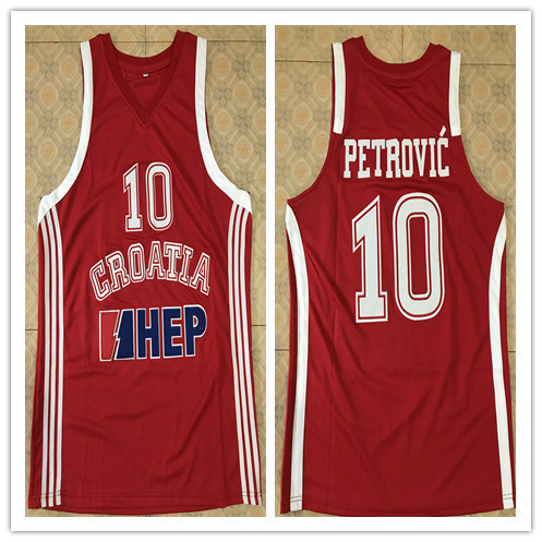 цена на 10 DRAZEN PETROVIC Croatia National Team basketball Jersey Men's Embroidery Stitched Custom any Number and name