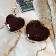 ETAILL 2019 Sweet Heart Shaped Diamonds Women Evening Bags Golden Chain Shoulder Purse Day Clutches Evening Bags Crossbody Bag все цены