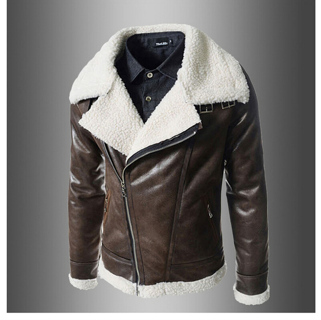 High Quality Lnclined Zipper Jacket Short Fleece Leather Jacket Men Winter Black Brown Motorcycle Leather Jacket Men Suede Coat