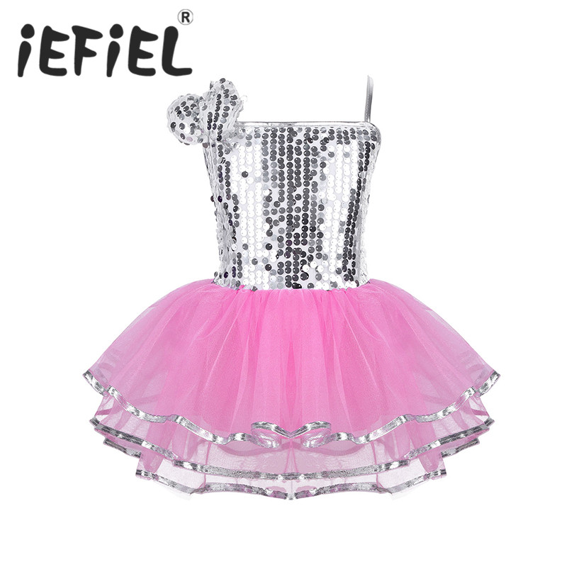 Girls Teenage Children Sequins Ballet Dance Leotard Dress Kids Lyrical Contemporary Jazz Dancewear Costume Gymnastics Leotard